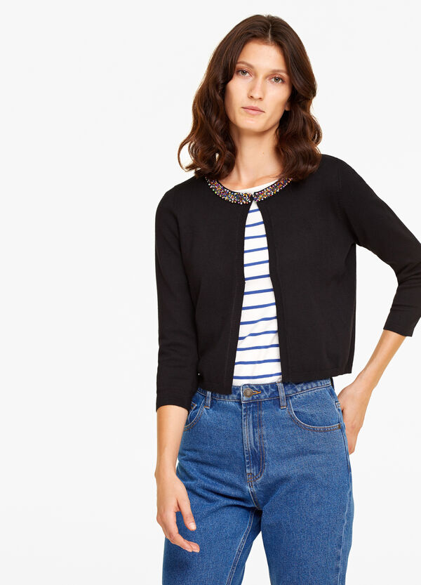 Cardigan misto viscosa con perline