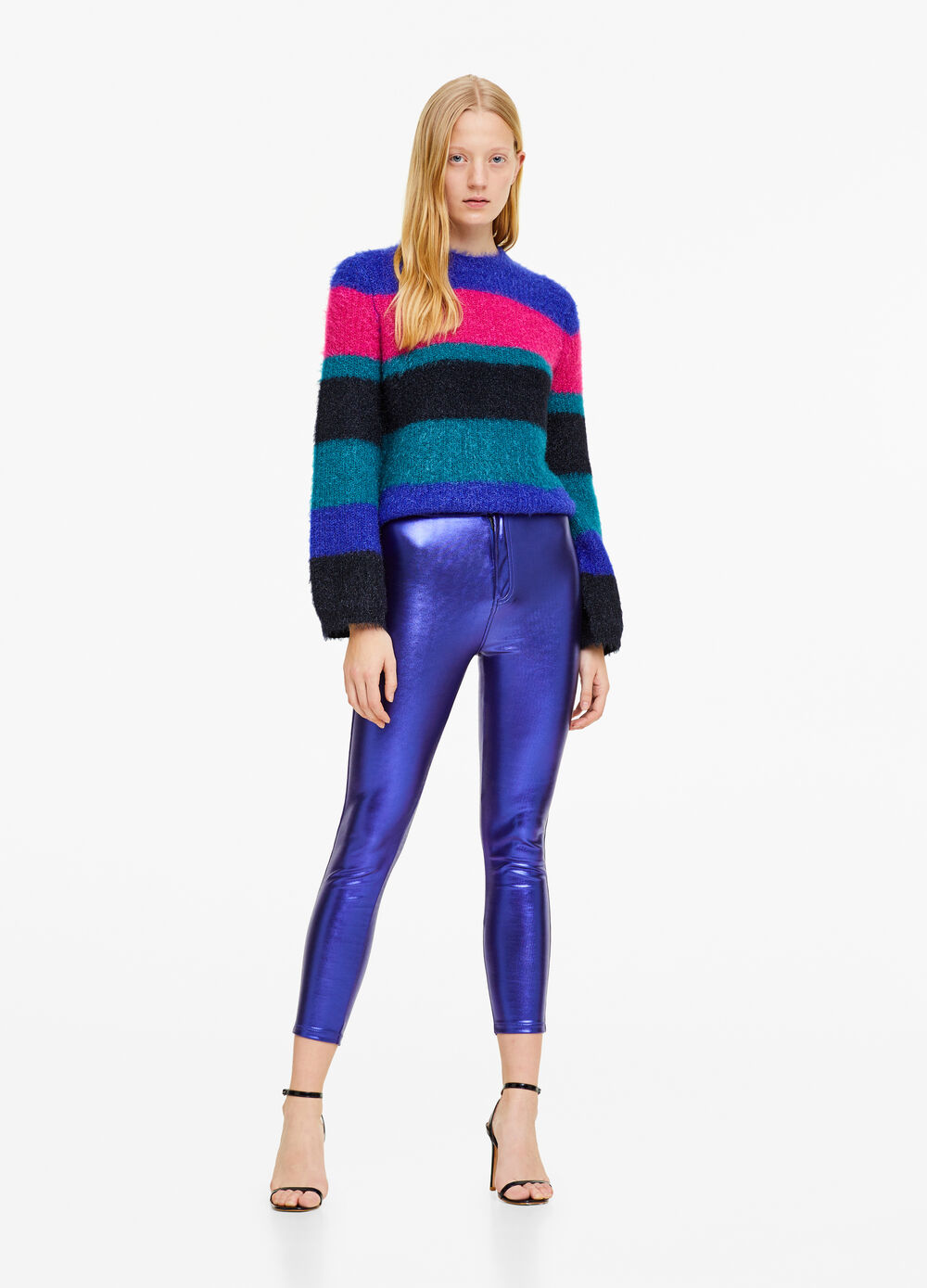 Solid colour stretch faux leather trousers