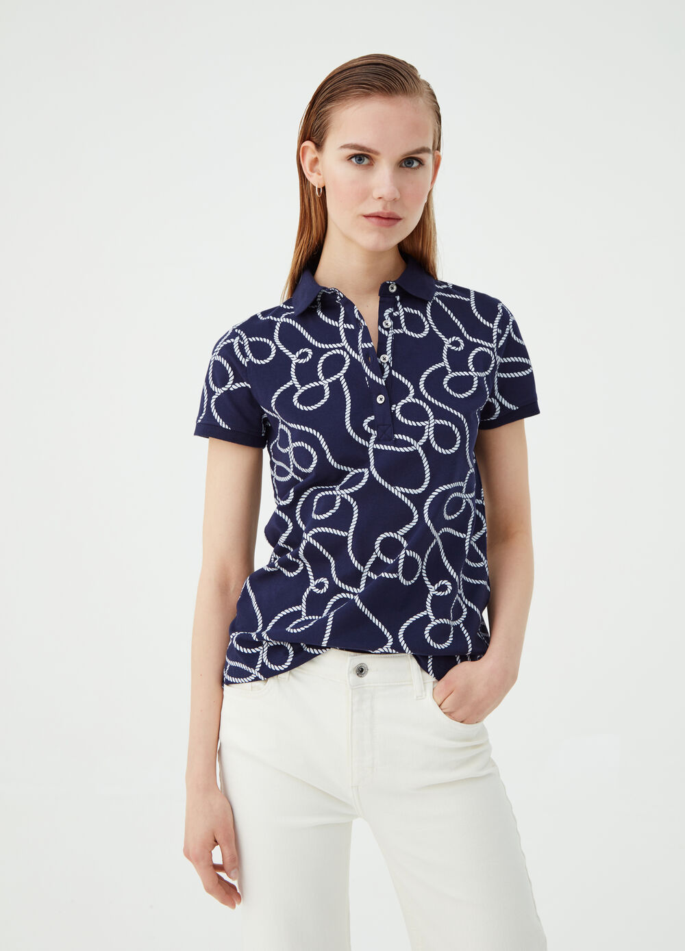 Organic cotton polo shirt with contrasting pattern