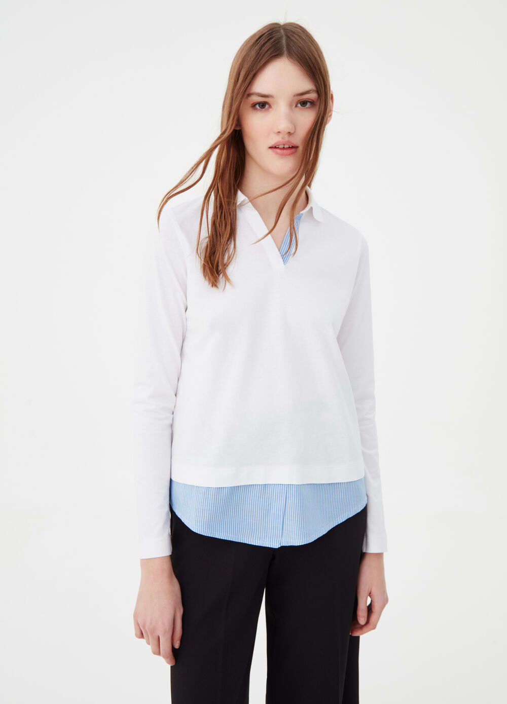 Polo shirt with long sleeves and faux layering