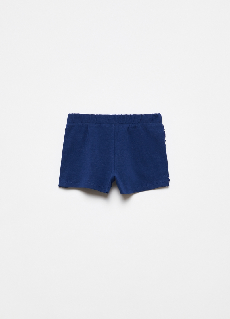 Shorts in cotone stretch con rouches image number null