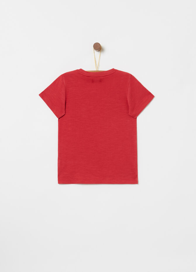Biocotton T-shirt with print and patch