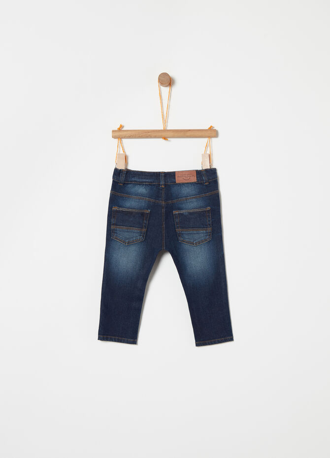 Worn-effect regular-fit stretch jeans