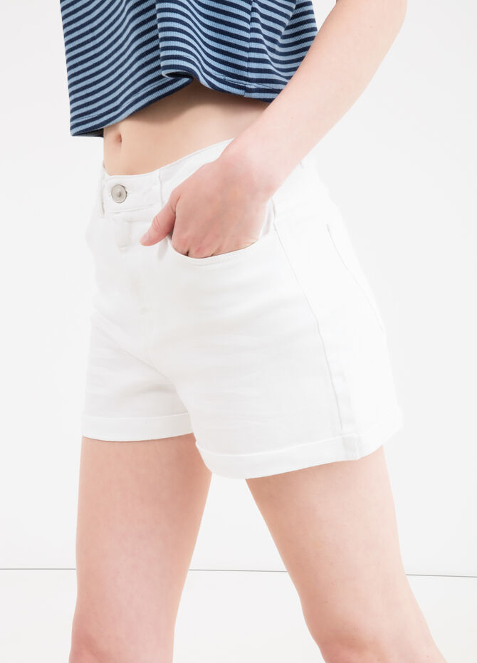 Solid colour stretch cotton shorts