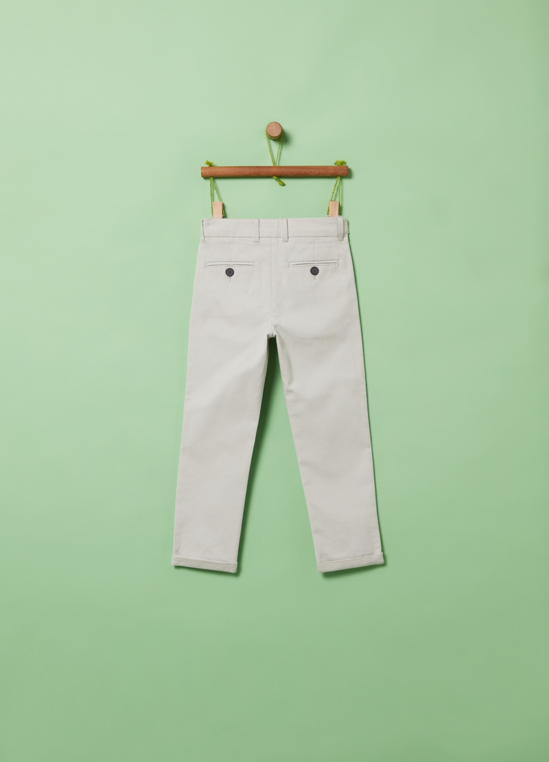 Stretch cotton trousers with buttons image number null