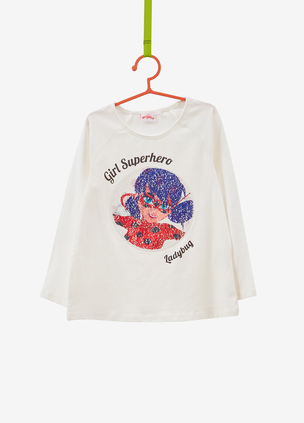 Stretch cotton T-shirt with sequins and Miraculous print