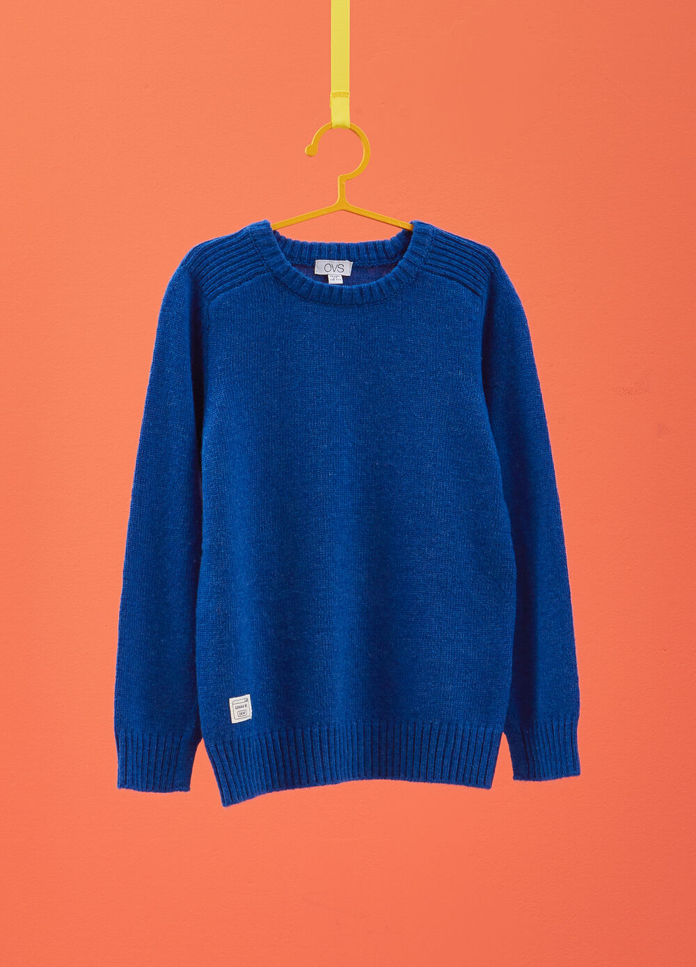 Wool blend pullover with striped weave