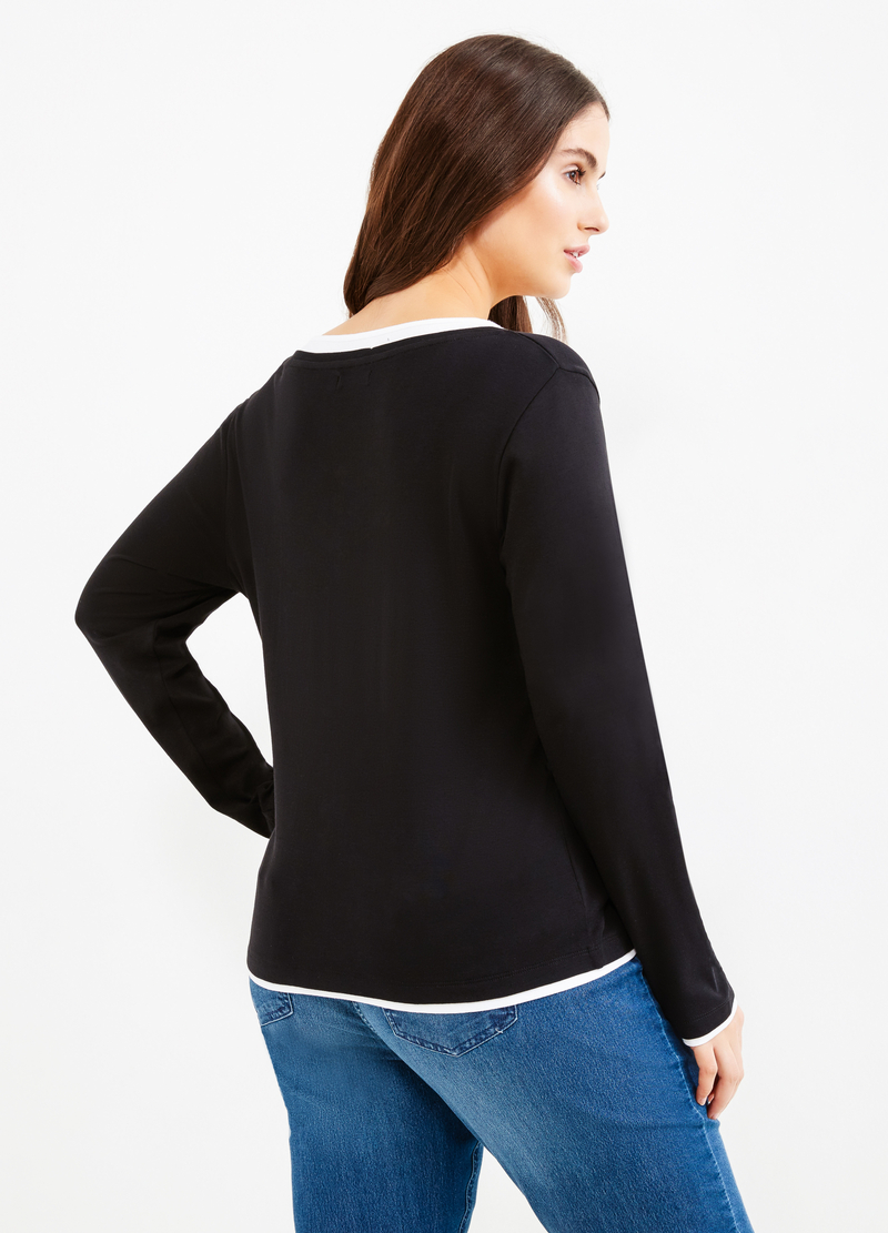 T-shirt cotone finto doppio Curvy image number null