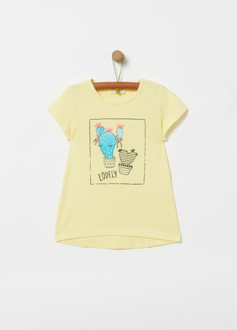 T-shirt with glitter cactus print image number null