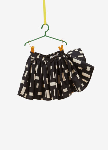 Skirt with bow, diamantés and all-over print