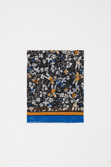 Pashmina with floral and striped pattern