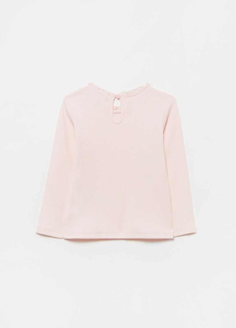 Stretch cotton ribbed T-shirt image number null