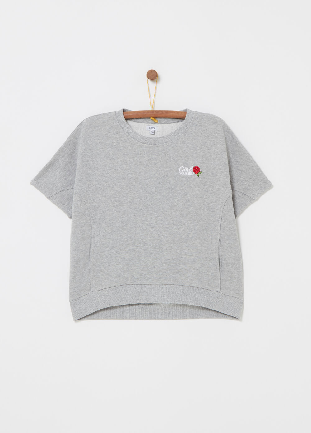 Mélange sweatshirt with short sleeves and embroidery