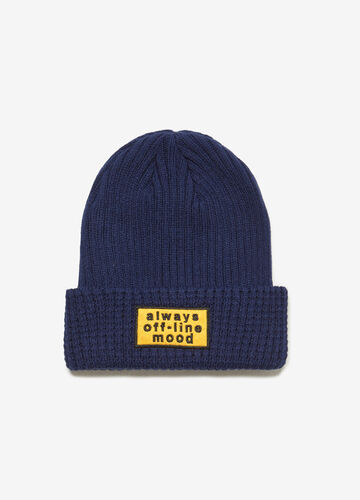 Ribbed knit hat with lettering patch