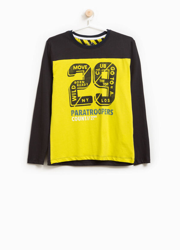 T-shirt in cotone bicolore stampa lettering