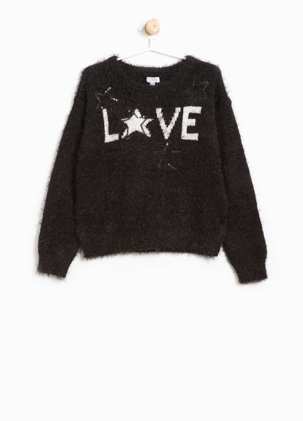 Frayed look pullover with embroidery and sequins | OVS