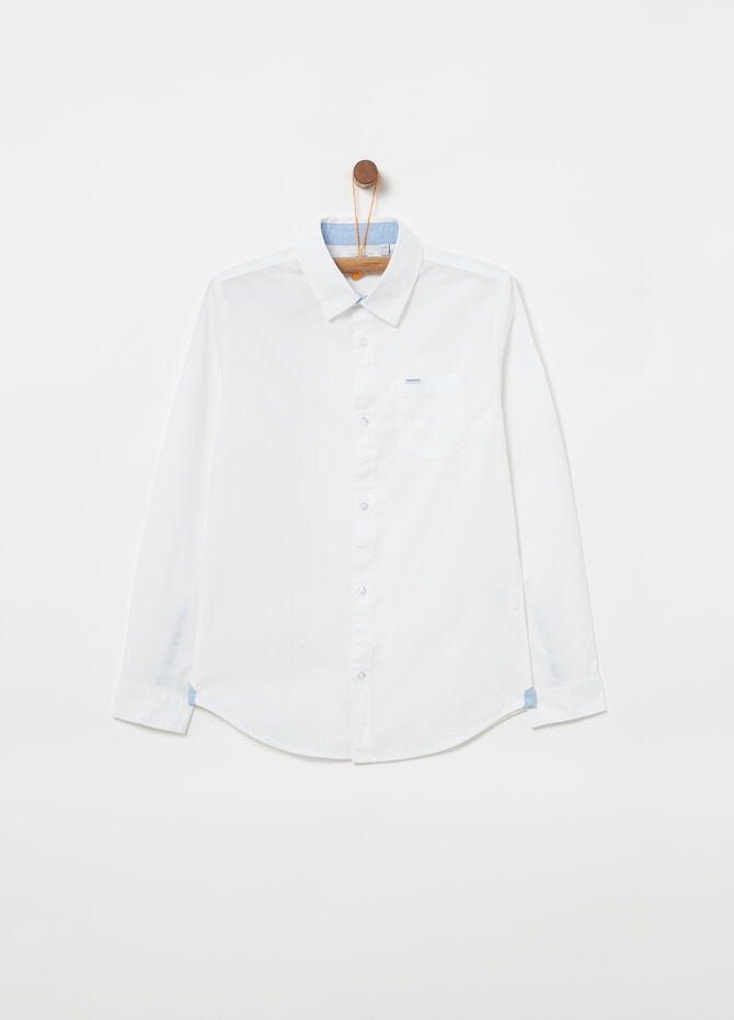 Solid colour 100% cotton shirt with pocket