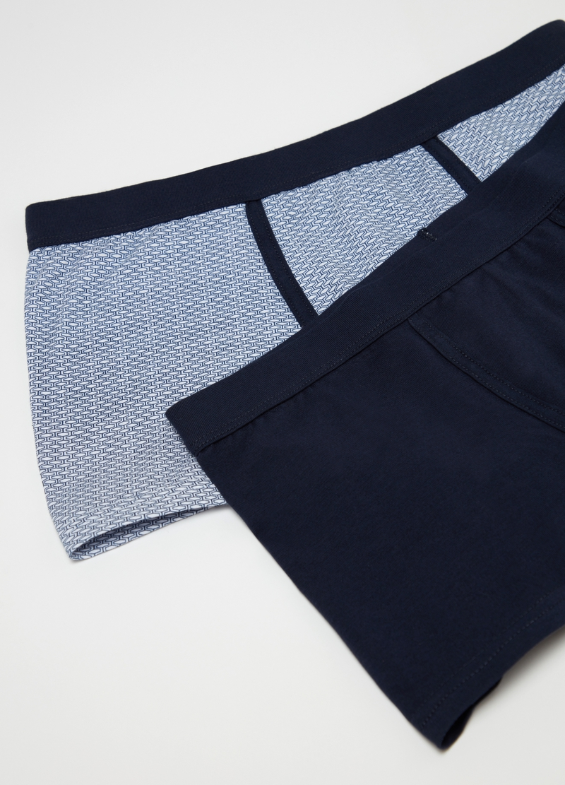 Two-pack stretch cotton boxer shorts with pattern image number null
