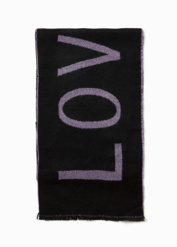 Knitted pashmina with embroidered lettering
