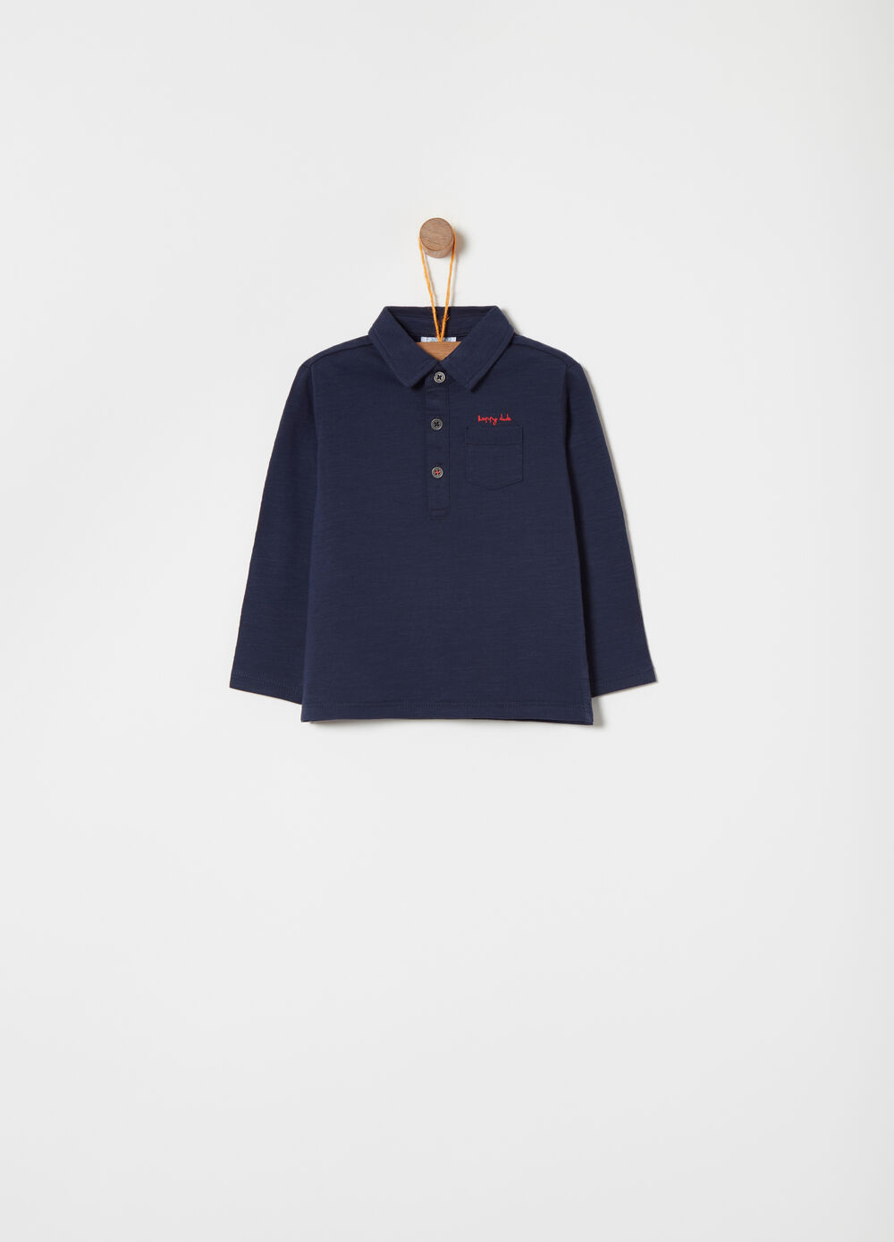 Polo shirt with long sleeves and pocket