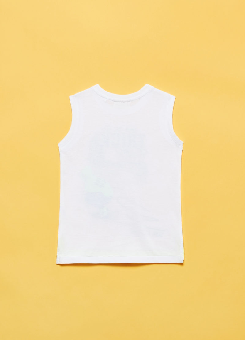Cotton tank top with skateboard print image number null