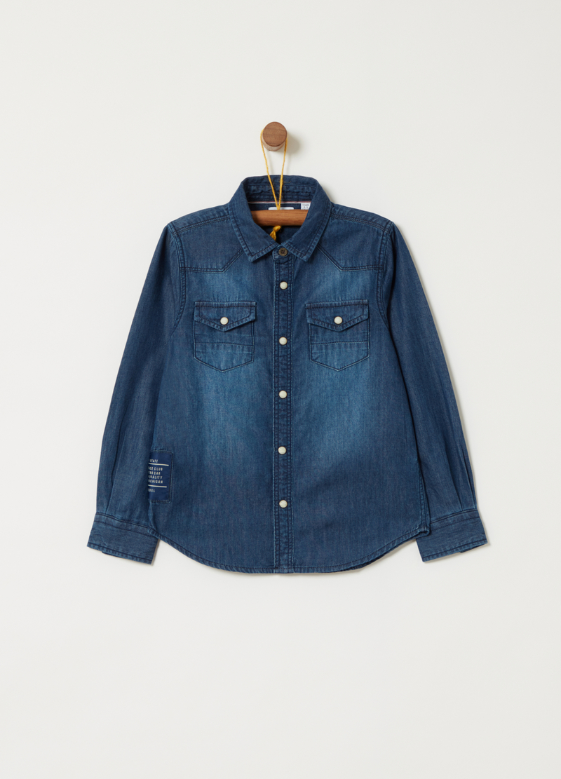 Washed-effect lightweight denim shirt image number null