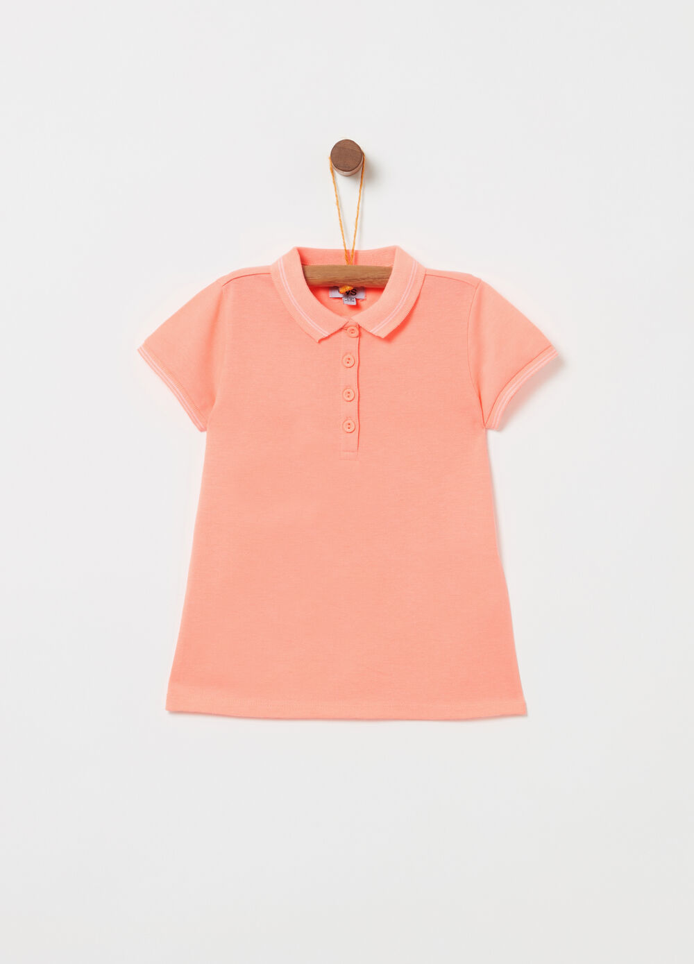 Solid colour fluorescent polo shirt with striped ribbing