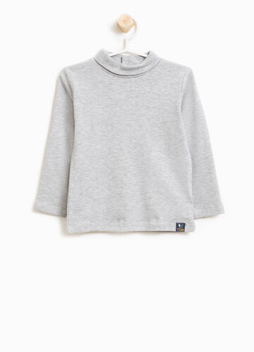 Cotton and viscose turtleneck jumper with high neck