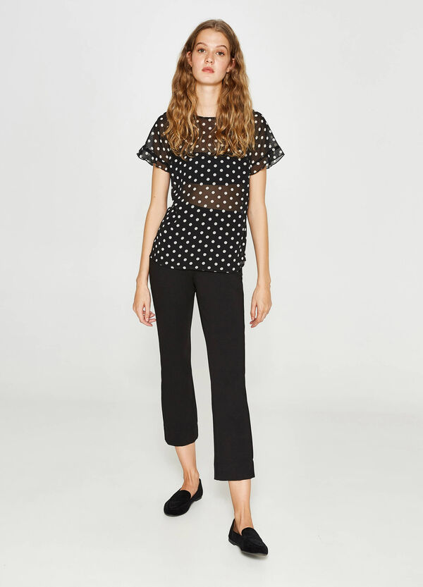 Semi-sheer blouse with all-over print