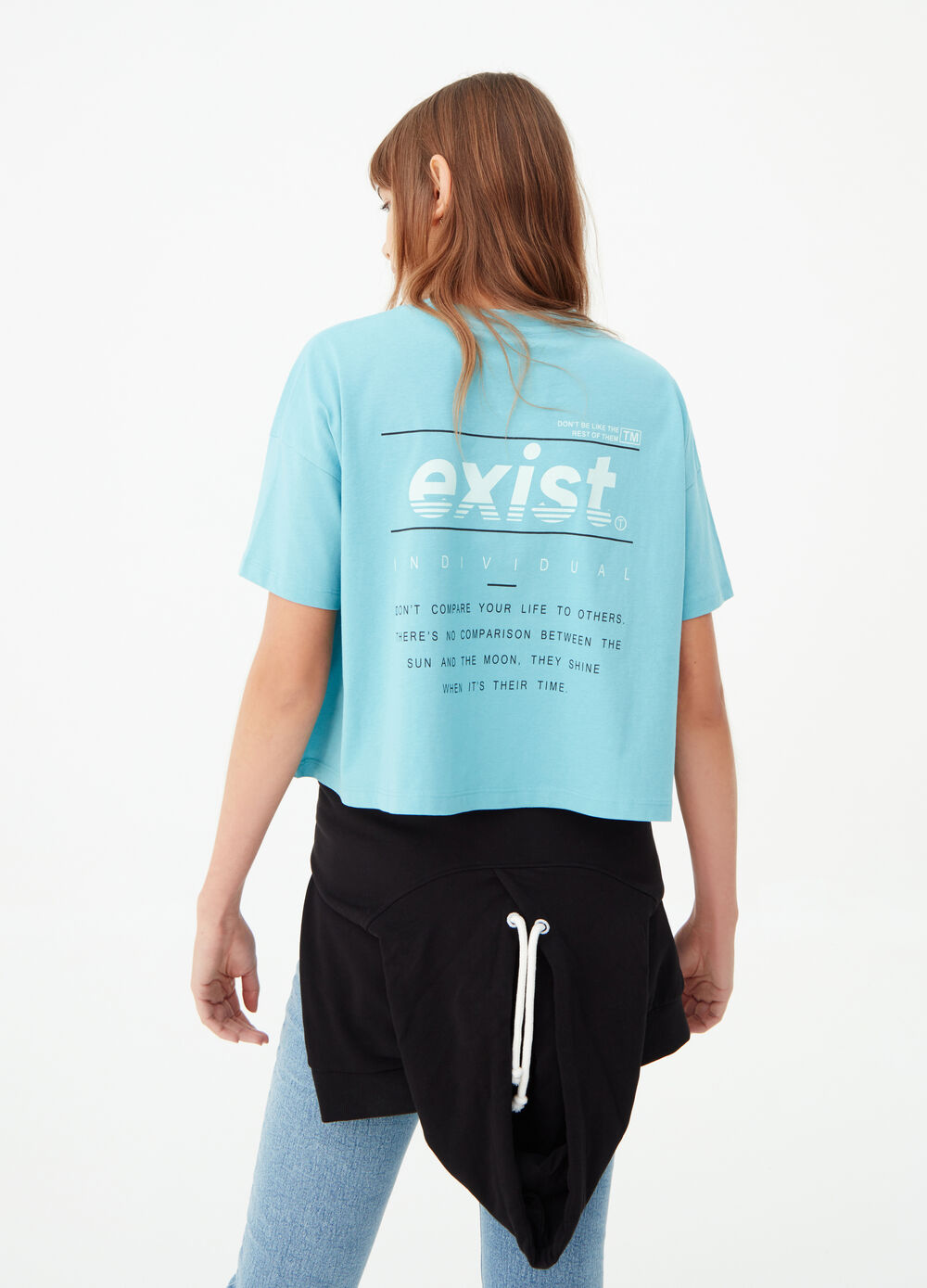 Crop T-shirt with lettering print