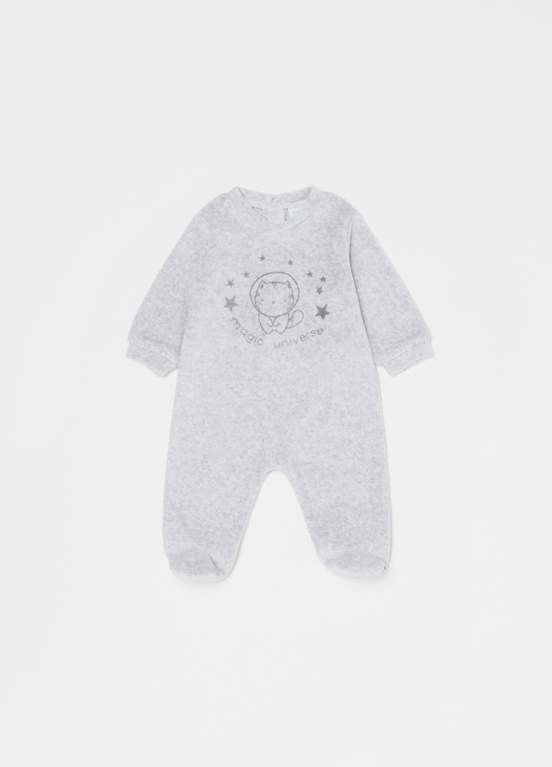 Onesie with feet and kitten print image number null