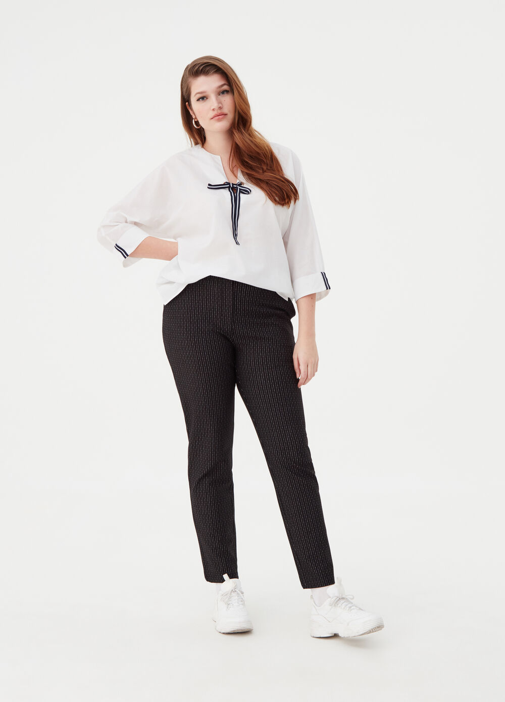 Curvy trousers with striped jacquard