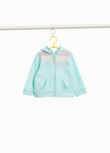 Cotton sweatshirt with floral print and flounce