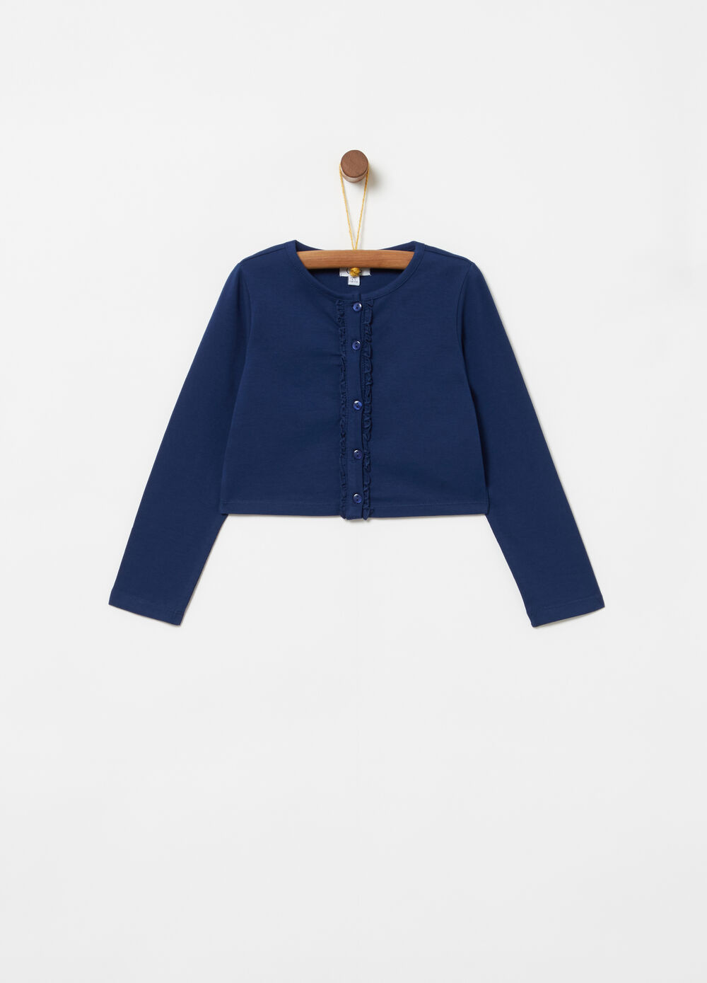 Cardigan in jersey stretch con rouches