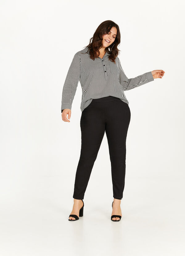 Curvy stretch cotton trousers
