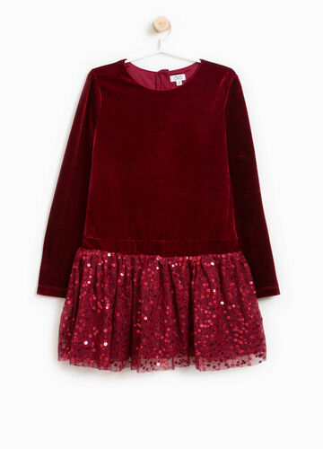 Stretch velour dress with sequins