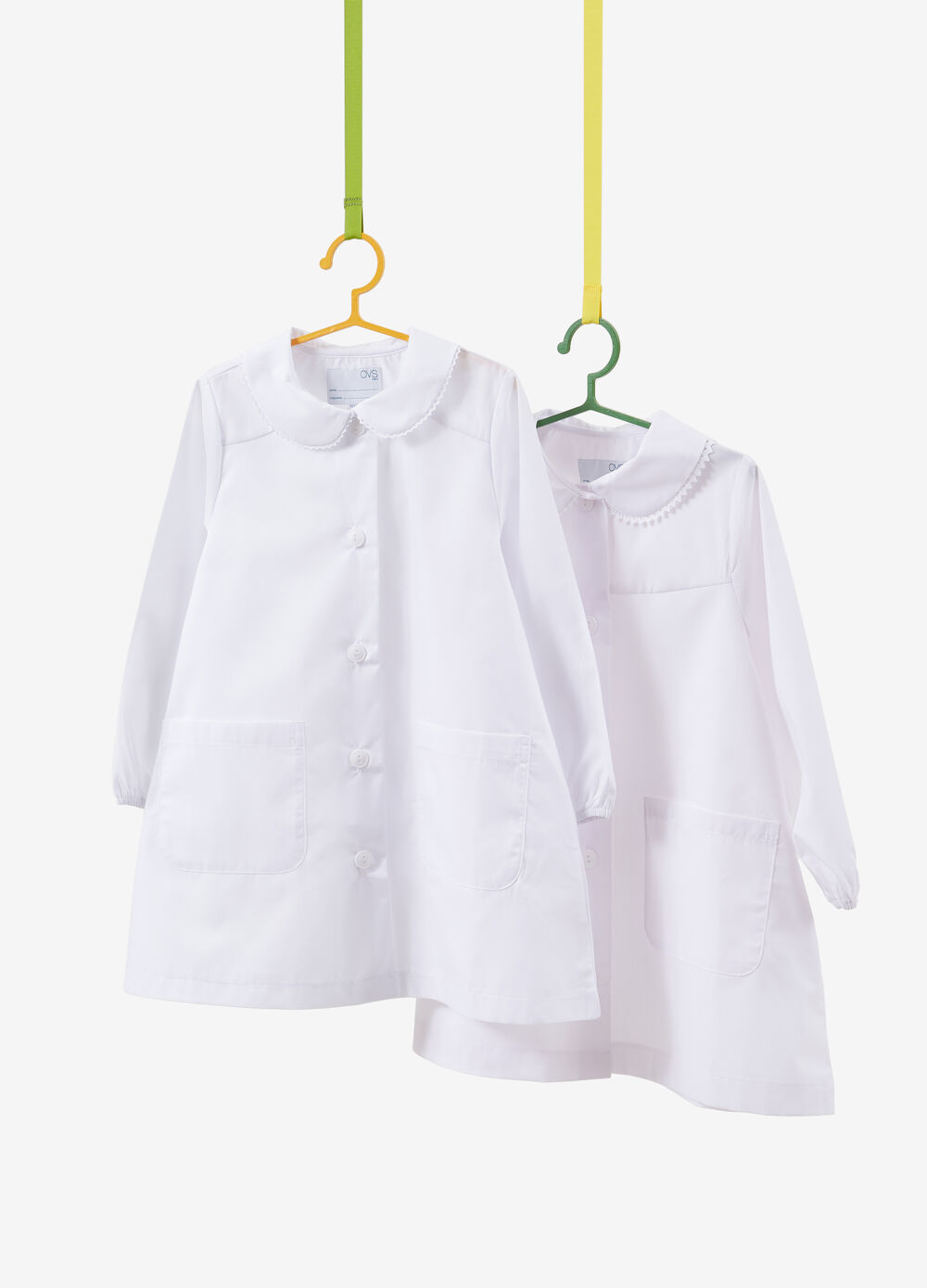 Set of two solid colour cotton blend smocks