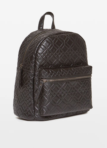 Quilted backpack with geometric pattern