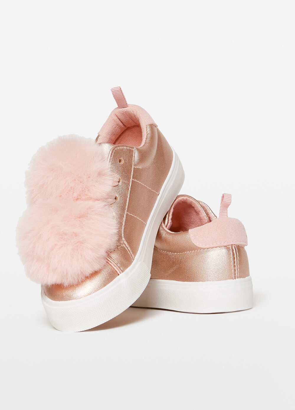 Shiny sneakers with pompoms and insert