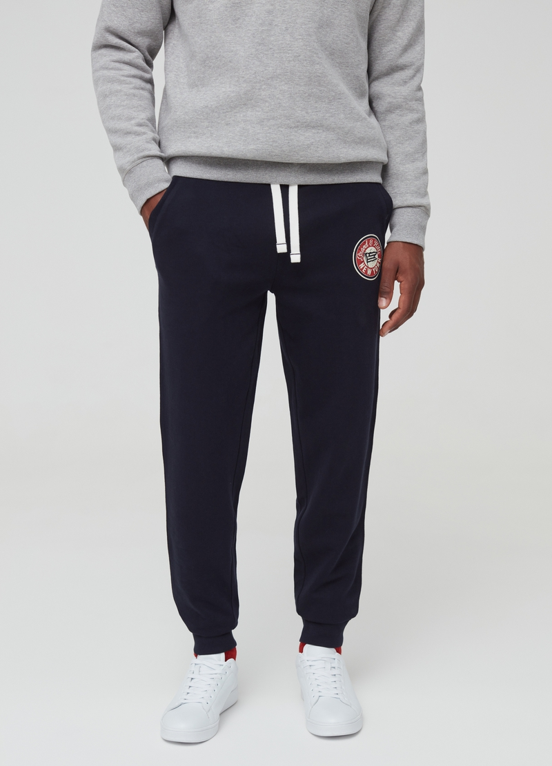 Joggers in 100% cotton fleece with print image number null