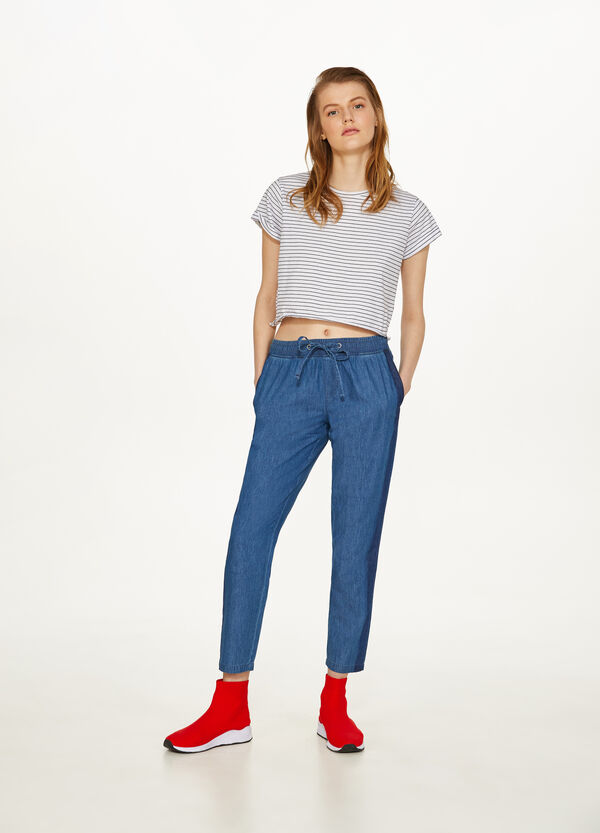 Jogging-fit jeans with bands