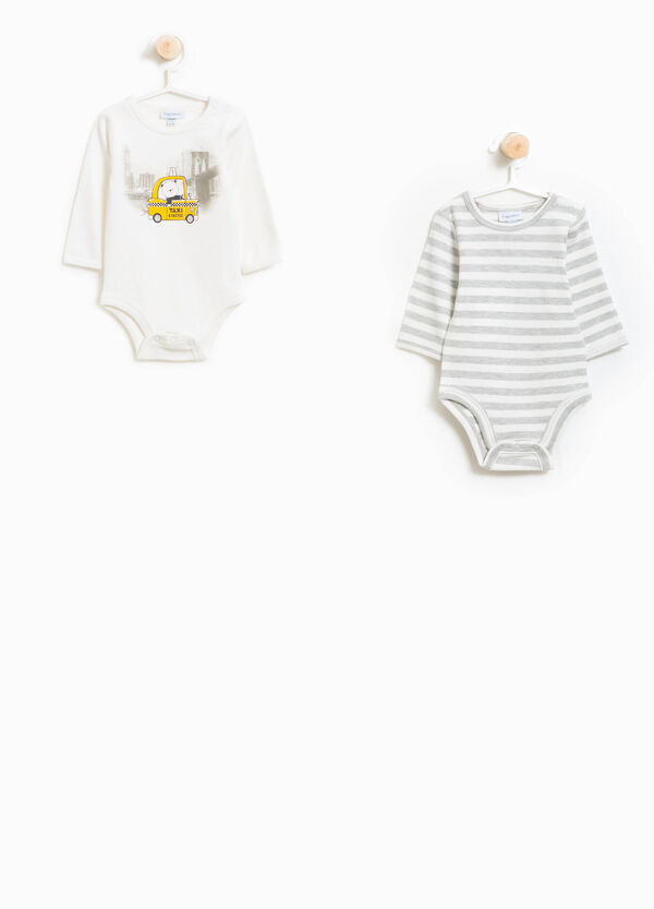Set of two 100% cotton bodysuits panda and striped