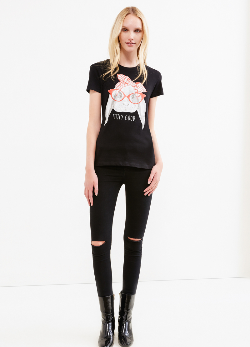 Round neck T-shirt with print image number null