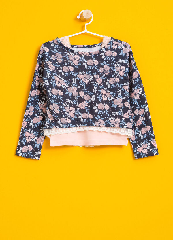T-shirt crop stampa floreale all-over