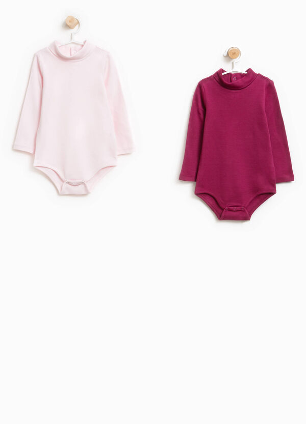 Two-pack bodysuits in 100% cotton with high neck | OVS