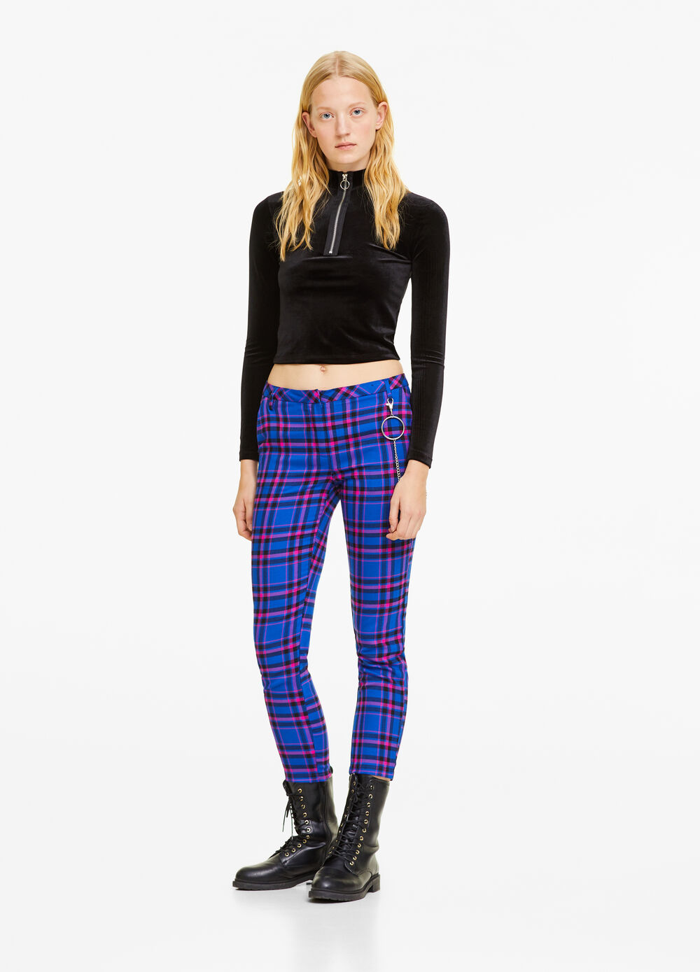Stretch viscose blend check trousers
