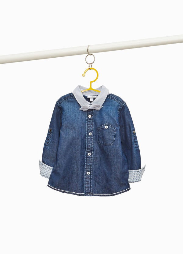 Denim shirt with striped collar