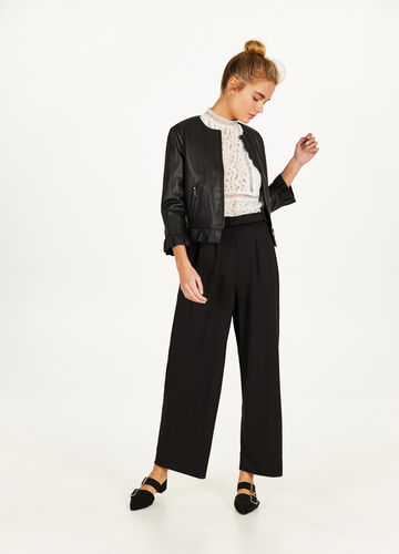 Leather-look crop jacket with flounce