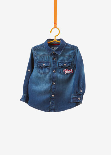 Washed-effect denim shirt with patches
