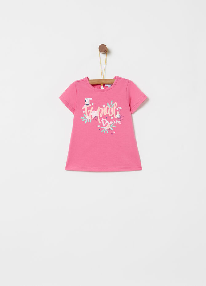 T-shirt cotone stretch stampa lettering